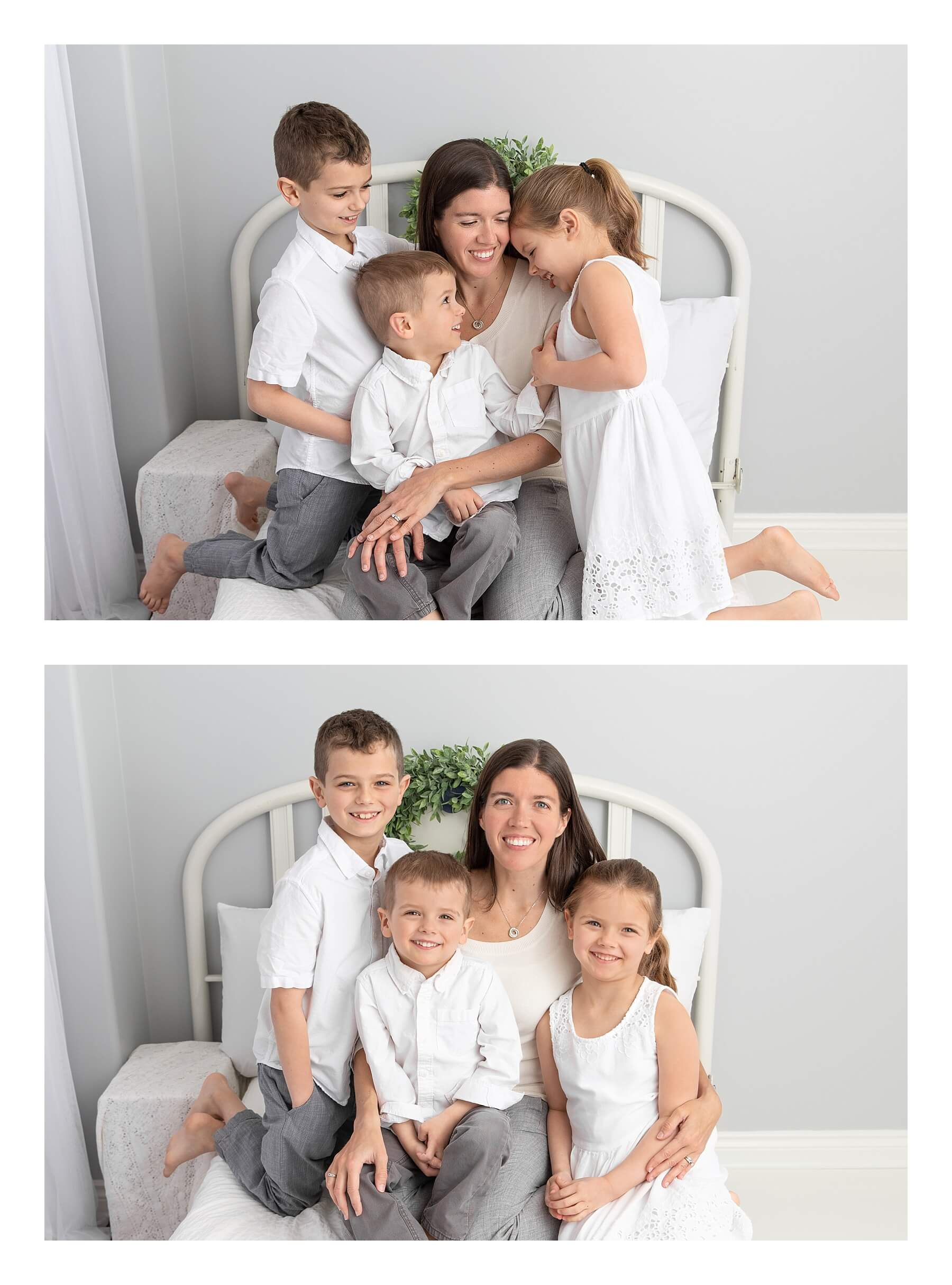 two photo collage of photographer Erin Massie snuggled on bed with her kids in white studio